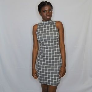 RD Style Gray and White Sleeveless Dress